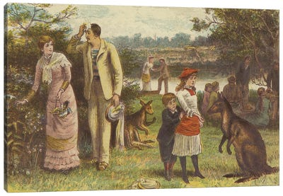 Christmas In Australia (Illustration From The Graphic, Christmas Number 1881) Canvas Art Print