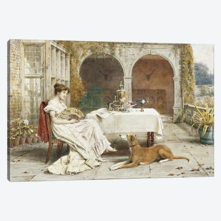 Faithful Friend At Tea Time Canvas Print #BMN11542} by George Goodwin Kilburne Canvas Print