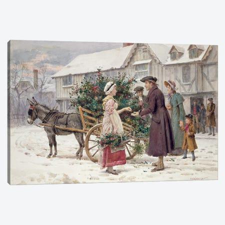 The Holly Cart Canvas Print #BMN11543} by George Goodwin Kilburne Canvas Art Print