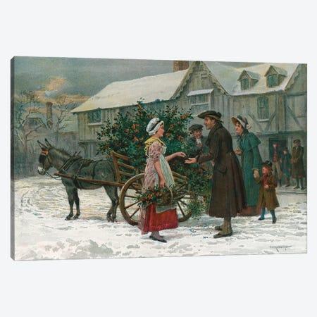 The Holly Cart (Illustration From Pears' Annual, Christmas 1896) Canvas Print #BMN11544} by George Goodwin Kilburne Canvas Artwork