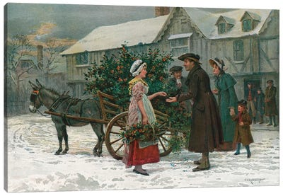 The Holly Cart (Illustration From Pears' Annual, Christmas 1896) Canvas Art Print