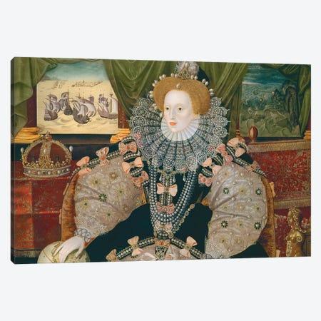 Armada Portrait Of Elizabeth I (Woburn Abbey - attr. to Gower), c.1588 Canvas Print #BMN11545} by George Gower Canvas Art