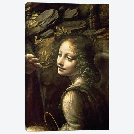 Detail of the Angel, from The Virgin of the Rocks  Canvas Print #BMN1154} by Leonardo da Vinci Canvas Print