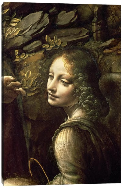 Detail of the Angel, from The Virgin of the Rocks  Canvas Art Print