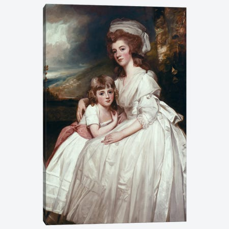 Portrait Of Mrs. Richard Pryce Corbet And Her Daughter, 1783 Canvas Print #BMN11550} by George Romney Canvas Artwork