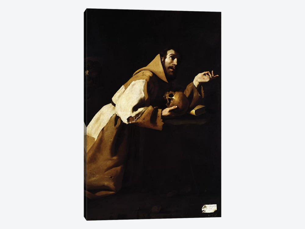 St. Francis in Meditation, 1639 by Francisco de Zurbaran 1-piece Canvas Wall Art