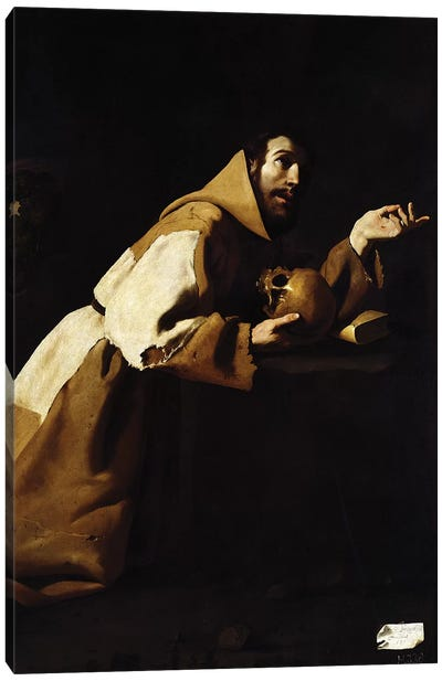 St. Francis in Meditation, 1639 Canvas Art Print