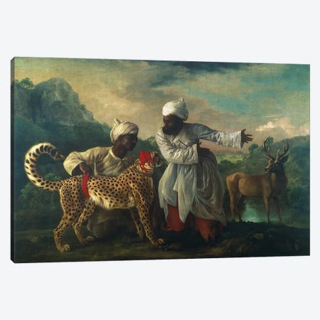 Cheetah And Stag With Two Indians, c.1765 Canvas Print #BMN11560} by George Stubbs Art Print