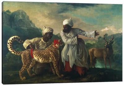 Cheetah And Stag With Two Indians, c.1765 Canvas Art Print