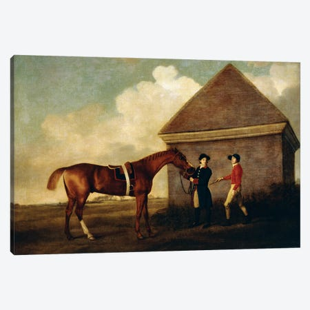 Eclipse (A Dark Chestnut Racehorse) Held By A Groom, With A Jockey, By The Rubbing Down House At Newmarket, 1770 Canvas Print #BMN11561} by George Stubbs Art Print