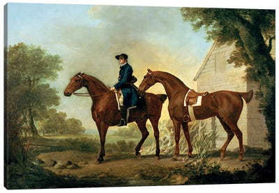 Mr. Crewe's Hunters With A Groom Near A Wooden Barn Canvas Art Print