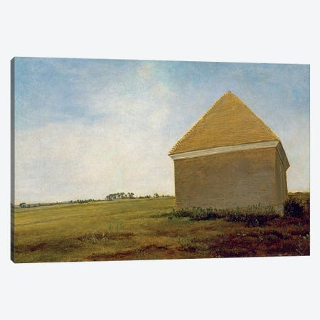 Newmarket Heath, With The King's Stables Rubbing House At The Finish Of The Beacon Course, c.1765 (Post-Restoration) Canvas Print #BMN11574} by George Stubbs Art Print