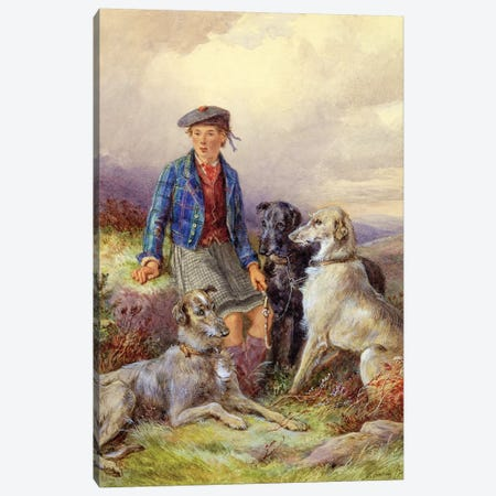 Scottish boy with wolfhounds in a Highland landscape, 1870  Canvas Print #BMN1157} by James Jnr Hardy Art Print