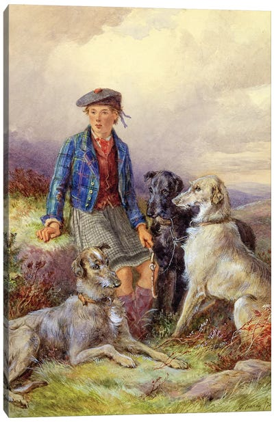 Scottish boy with wolfhounds in a Highland landscape, 1870  Canvas Art Print