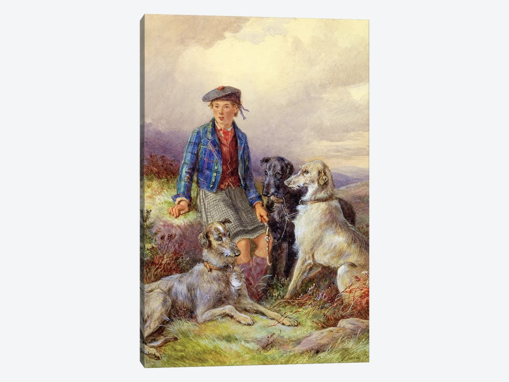 Scottish boy with wolfhounds in a Highland landscape, 1870  by James Jnr Hardy 1-piece Canvas Art