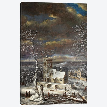 A Village In Winter In An Extensive Landscape With Figures On The Ice Canvas Print #BMN11580} by Gerard van Edema Canvas Art Print