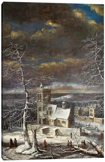 A Village In Winter In An Extensive Landscape With Figures On The Ice Canvas Art Print