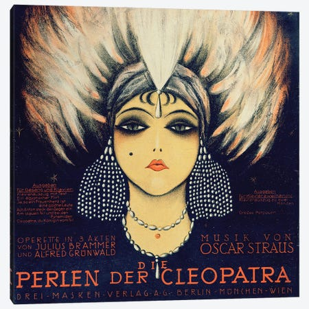 Cover For The Vocal Score Of Die Perlen Der Cleopatra By Oscar Straus, 1923 Canvas Print #BMN11587} by German School Canvas Artwork