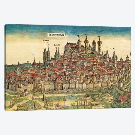 View Of Nuremberg, (Two-Page Illustration From The Nuremberg Chronicle), 1493 Canvas Print #BMN11591} by German School Canvas Artwork