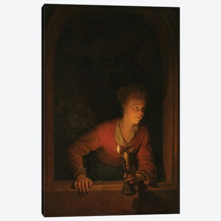 Girl With An Oil Lamp At A Window, c.1645-75 Canvas Print #BMN11593} by Gerrit Dou Canvas Artwork