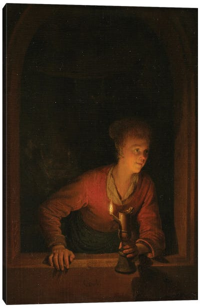Girl With An Oil Lamp At A Window, c.1645-75 Canvas Art Print
