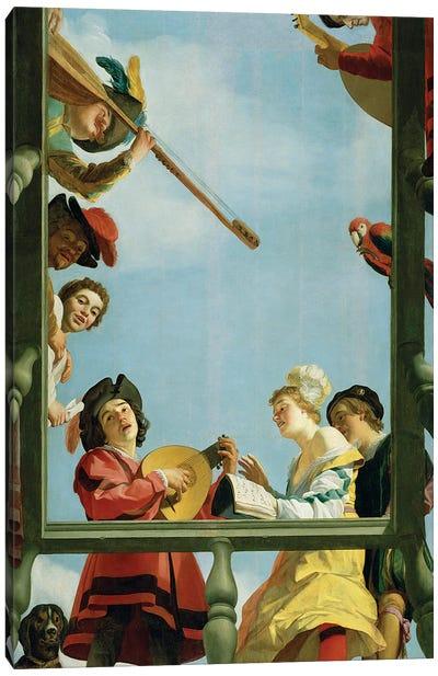 Musical Group On A Balcony, 1622 Canvas Art Print