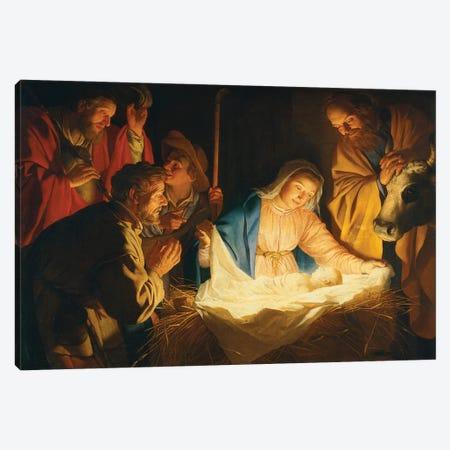 The Adoration Of The Shepherds, 1622 Canvas Print #BMN11597} by Gerrit van Honthorst Canvas Print