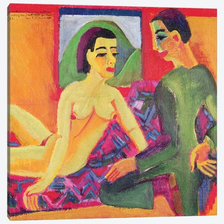 The Couple, 1923  Canvas Print #BMN1159} by Ernst Ludwig Kirchner Canvas Artwork