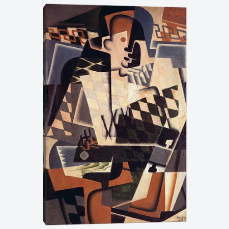 Harlequin with a Guitar, 1917 (oil on canvas) Canvas Print #BMN115} by Juan Gris Art Print