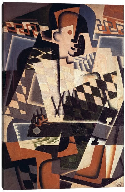 Harlequin with a Guitar, 1917 (oil on canvas) Canvas Art Print