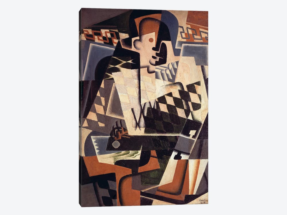 Harlequin with a Guitar, 1917 (oil on canvas) by Juan Gris 1-piece Canvas Wall Art