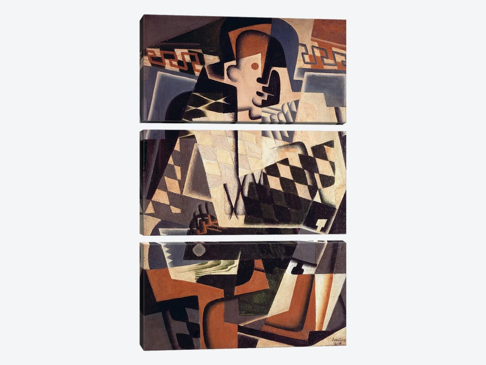 Harlequin with a Guitar, 1917 (oil on canvas) by Juan Gris 3-piece Canvas Art