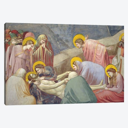 Detail Of Christ And The Grieving, Lamentation (The Mourning Of Christ), c.1304-06 Canvas Print #BMN11606} by Giotto Canvas Print