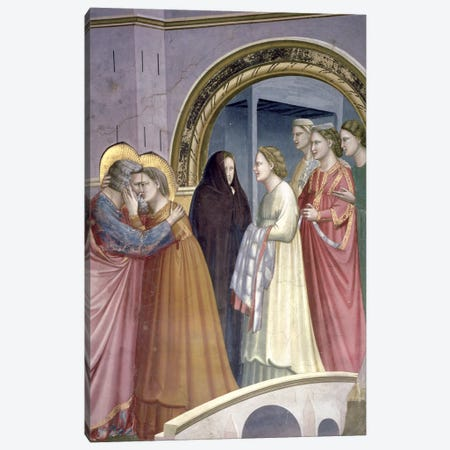 Detail Of Joachim And St. Anne Embracing, Meeting At The Golden Gate, c.1304-06 Canvas Print #BMN11607} by Giotto Canvas Print