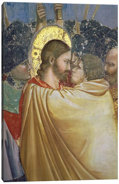 Detail Of The Kiss, The Arrest Of Christ (The Kiss Of Judas), c.1304-06 Canvas Art Print