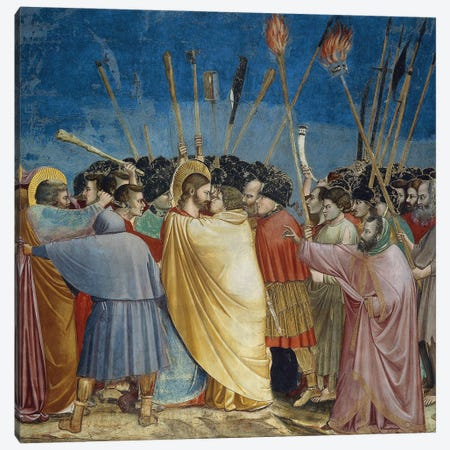 In Zoom, The Arrest Of Christ (The Kiss Of Judas), c.1304-06 Canvas Print #BMN11610} by Giotto Canvas Print
