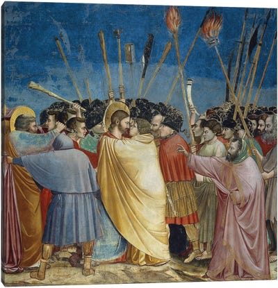 In Zoom, The Arrest Of Christ (The Kiss Of Judas), c.1304-06 Canvas Art Print