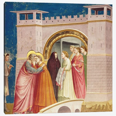 Meeting At The Golden Gate, c.1304-06 Canvas Print #BMN11612} by Giotto Canvas Print