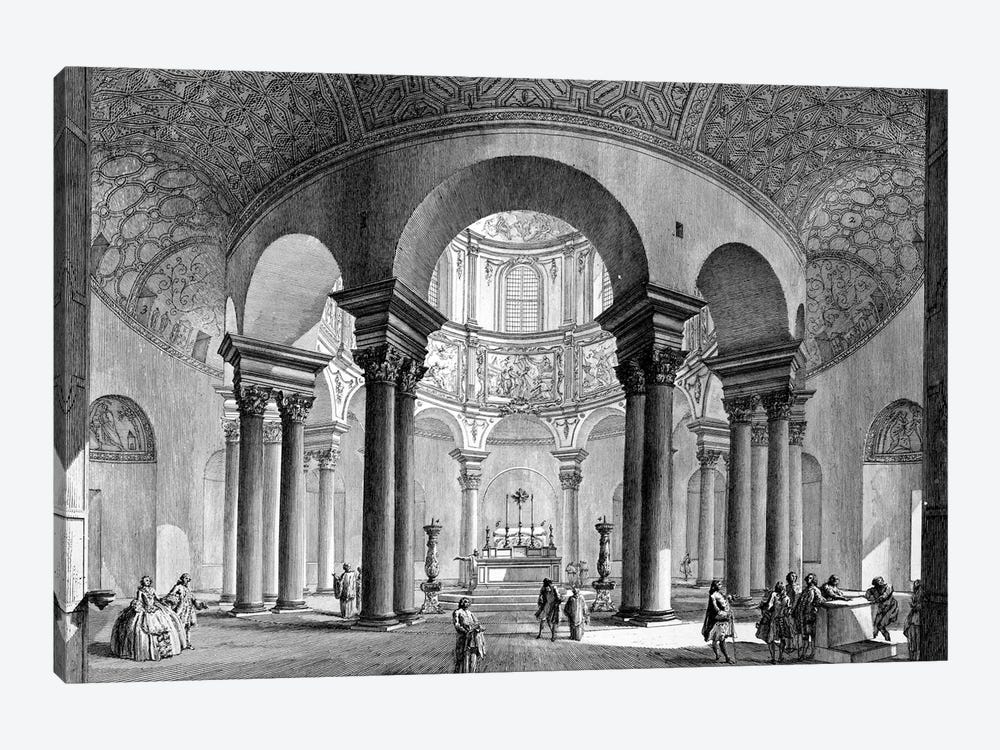 Internal View Of The Sepulcher of Santa Costanza (Etching From Views Of Rome), 1758 by Giovanni Battista Piranesi 1-piece Canvas Wall Art