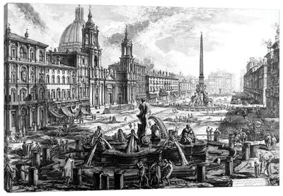 View Of Piazza Navona Over The Ruins Of The Circus Agonalis (Etching From Views Of Rome), c.1760 Canvas Art Print