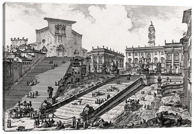 View Of The Roman Campidoglio With Staircase Leading To The Araceli Church (Etching From Views Of Rome), c.1760 Canvas Art Print