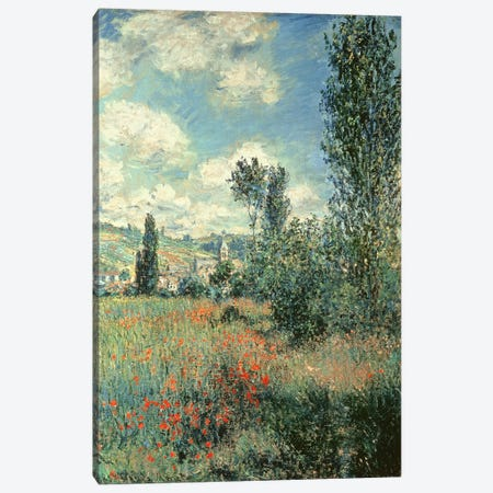 Path through the Poppies, Ile Saint-Martin, Vetheuil, 1880  Canvas Print #BMN1161} by Claude Monet Canvas Print