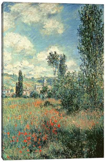Path through the Poppies, Ile Saint-Martin, Vetheuil, 1880  Canvas Art Print