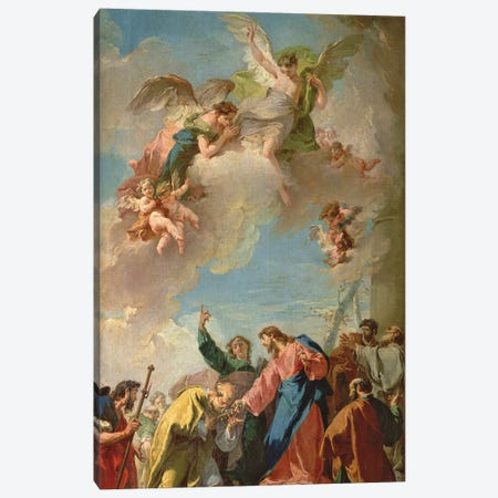 Christ Giving The Keys Of Heaven To St. Peter Canvas Print #BMN11620} by Giovanni Battista Pittoni Canvas Wall Art