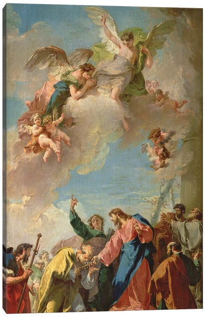 Christ Giving The Keys Of Heaven To St. Peter Canvas Art Print