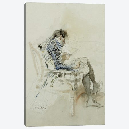Gentleman Seated In An Armchair Reading A Book And Smoking A Pipe Canvas Print #BMN11626} by Giovanni Boldini Art Print