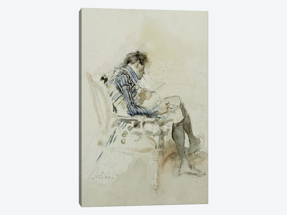 Gentleman Seated In An Armchair Reading A Book And Smoking A Pipe by Giovanni Boldini 1-piece Canvas Wall Art