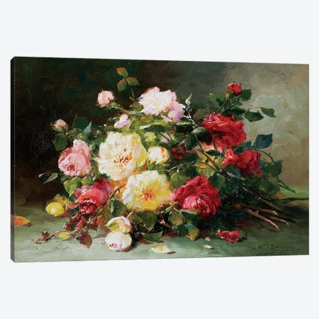 A Bouquet of Roses Canvas Print #BMN1162} by Eugene Henri Cauchois Art Print