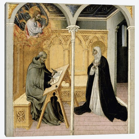 Saint Catherine Of Siena Dictating Her Dialogues, c.1447-49 Canvas Print #BMN11632} by Giovanni di Paolo di Grazia Canvas Print