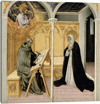 Saint Catherine Of Siena Dictating Her Dialogues, c.1447-49 Canvas Art Print